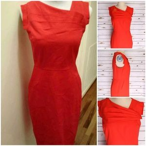 J. Crew Orange/Red Sleeveless Sheath Dress